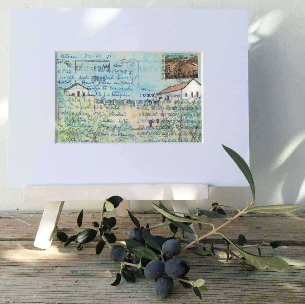 greek monastery painting vintage postcard