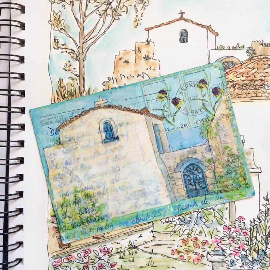 corfu church postcard painting gill tomlinson art