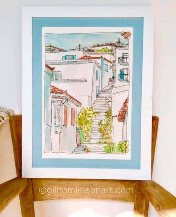 koroni, steps, art, print, gill tomlinson, art, greece