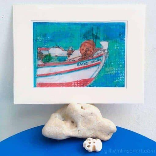 greek fishing boat art print by gill tomlinson