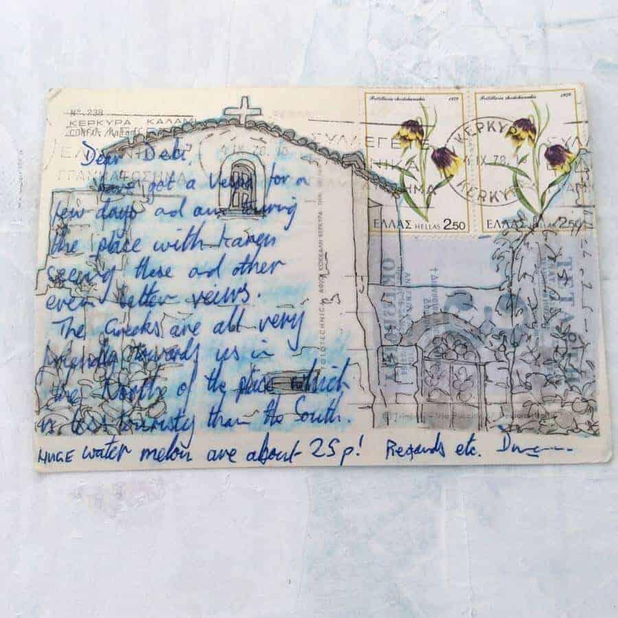 postcard from Greece postcard art Kerkyra Corfu by Gill Tomlinson