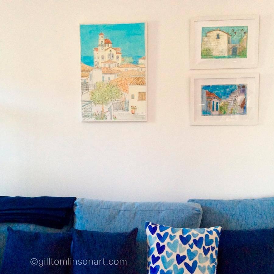 art, prints, greece, greek, gill tomlinson, giclee