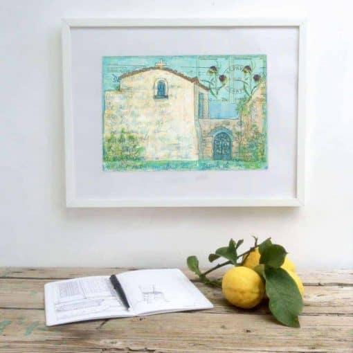 kerkyra, corfu, art, print, greek, monastery, painting, gill tomlinson, greece