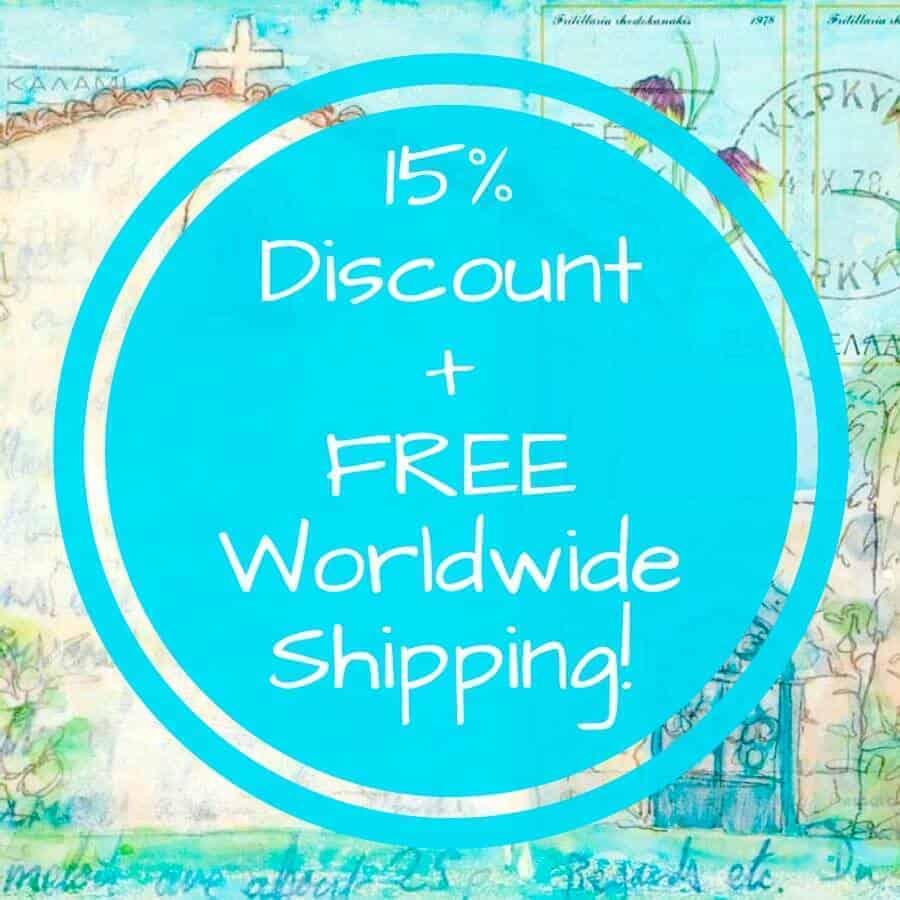discount, special offer, art prints, greece, kerkyra, art by gill tomlinson