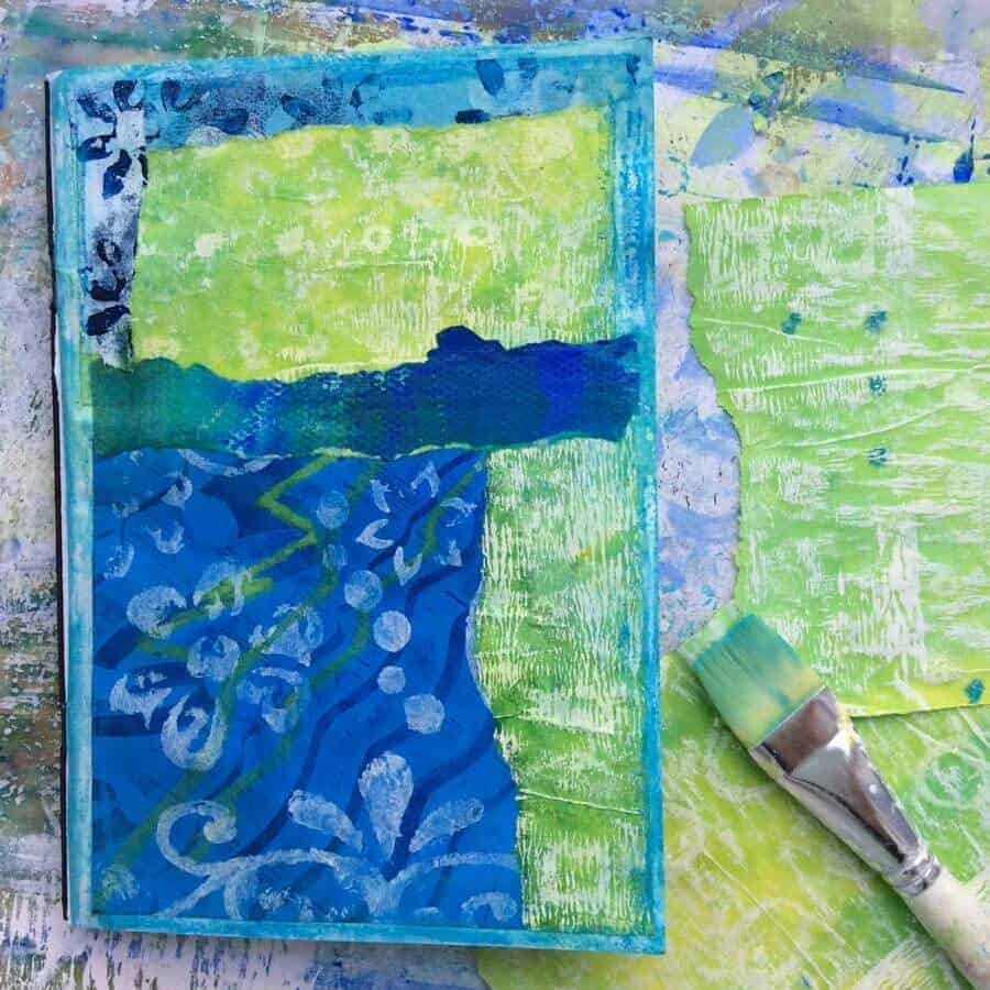 mixed-media sketchbook inspired by Greece blues