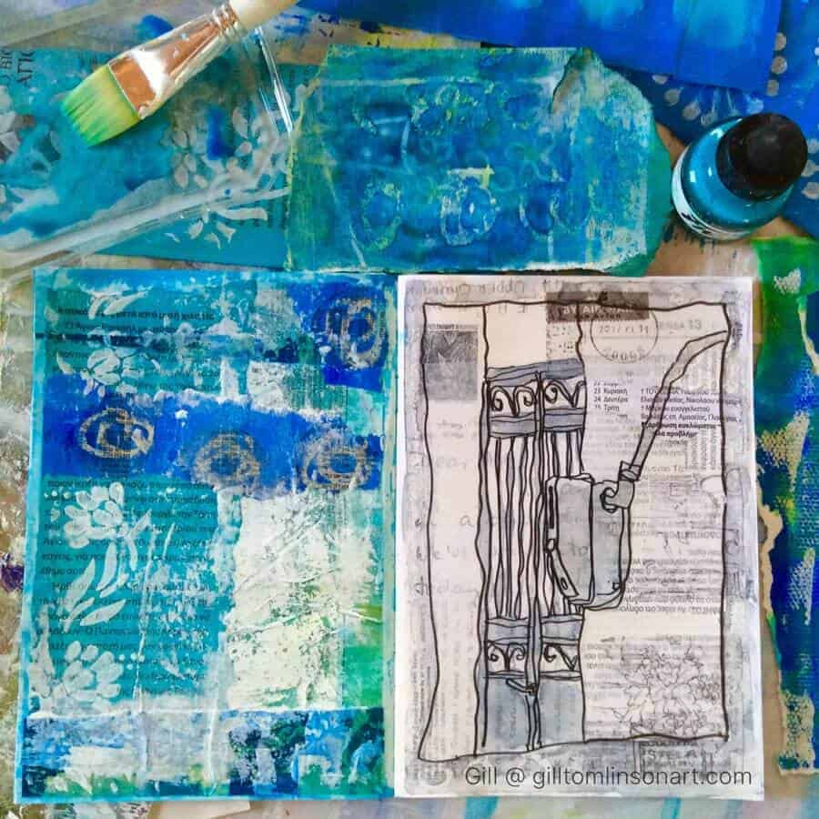 blue, mixed-media, sketchbook, collage, papers, Greece,door, drawing