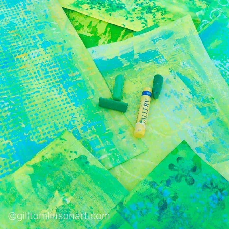 green collage papers with oil pastels colours of Greek Spring