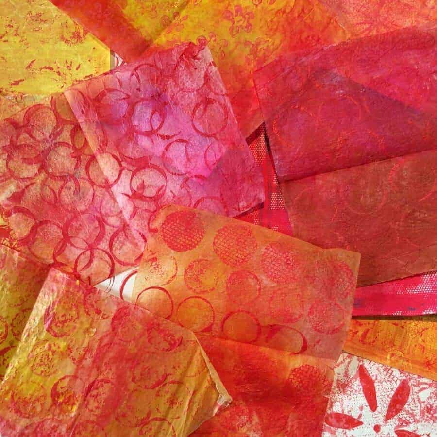 red, pink, orange, mixed-media papers, collage, decorated