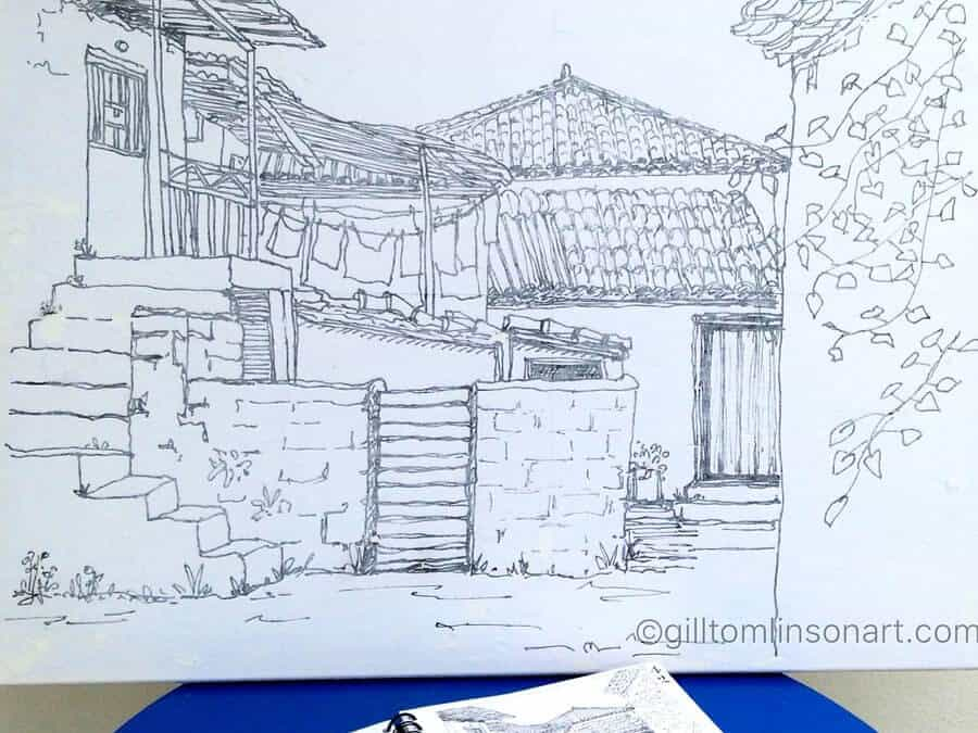 Greek Village Sketch