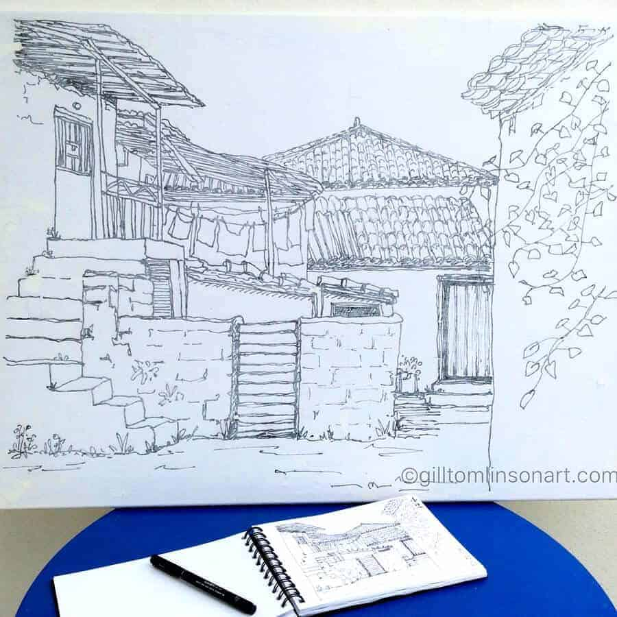 greek village sketch on canvas gill tomlinson art inspired by greece