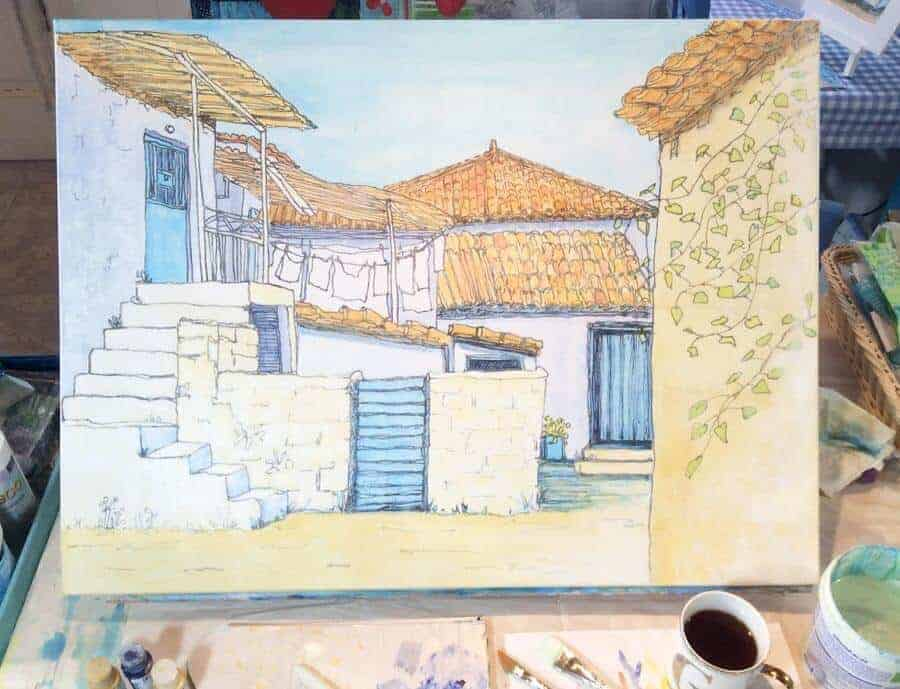 greek village painting, sketch with rooftops