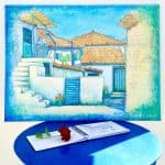 greece, greek-village-scene, painting