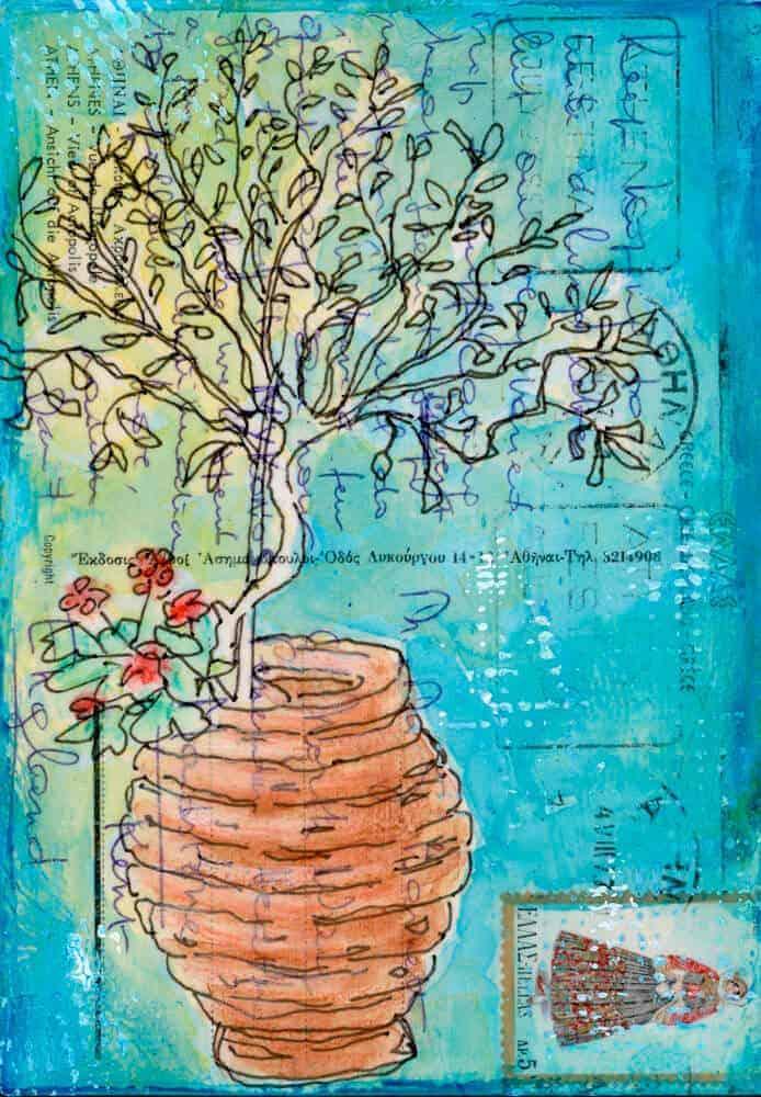 greek olive tree painting on vintage postcard