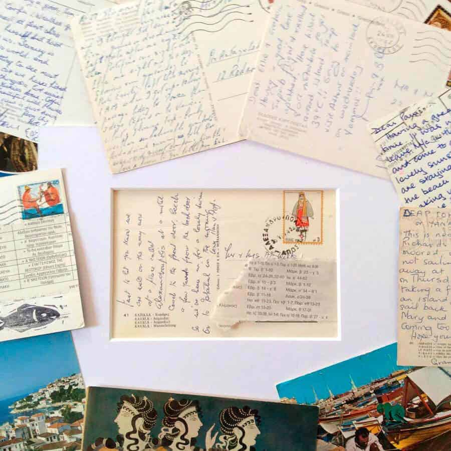 composing the paintings on vintage postcards