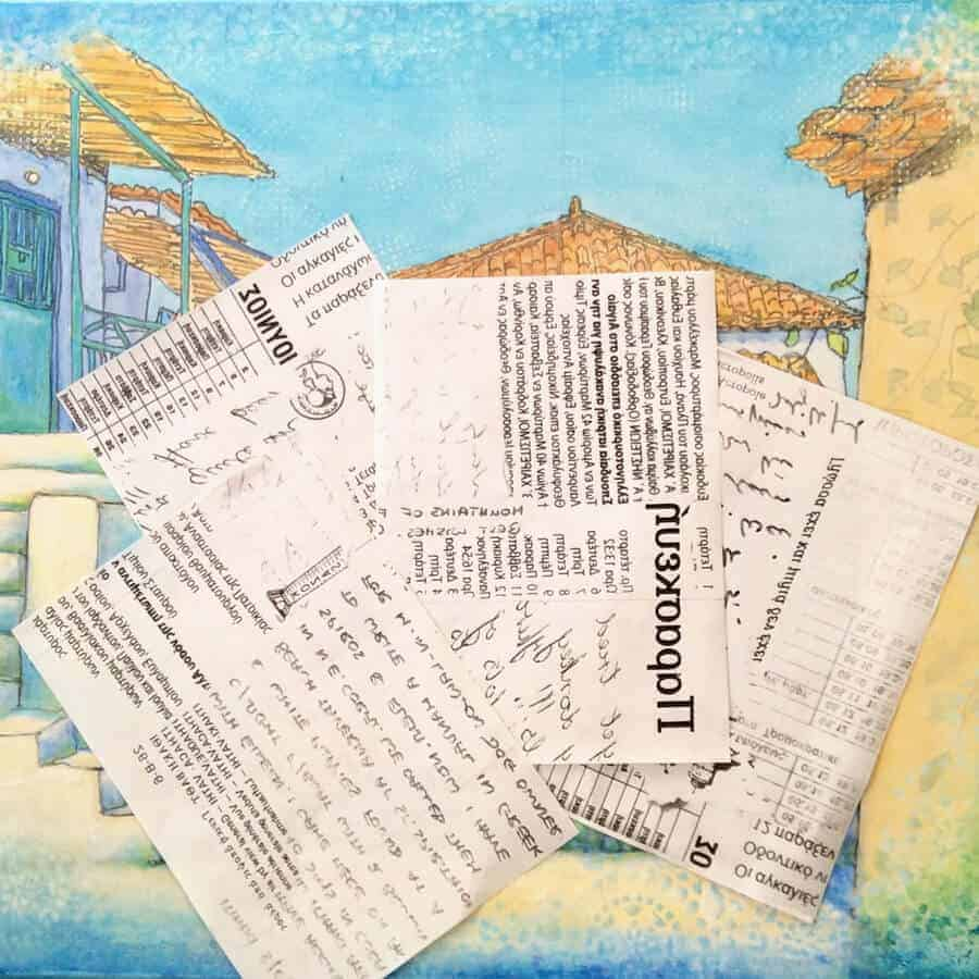 greek-text, greek-letters, greek-writing, painting, greek village scene