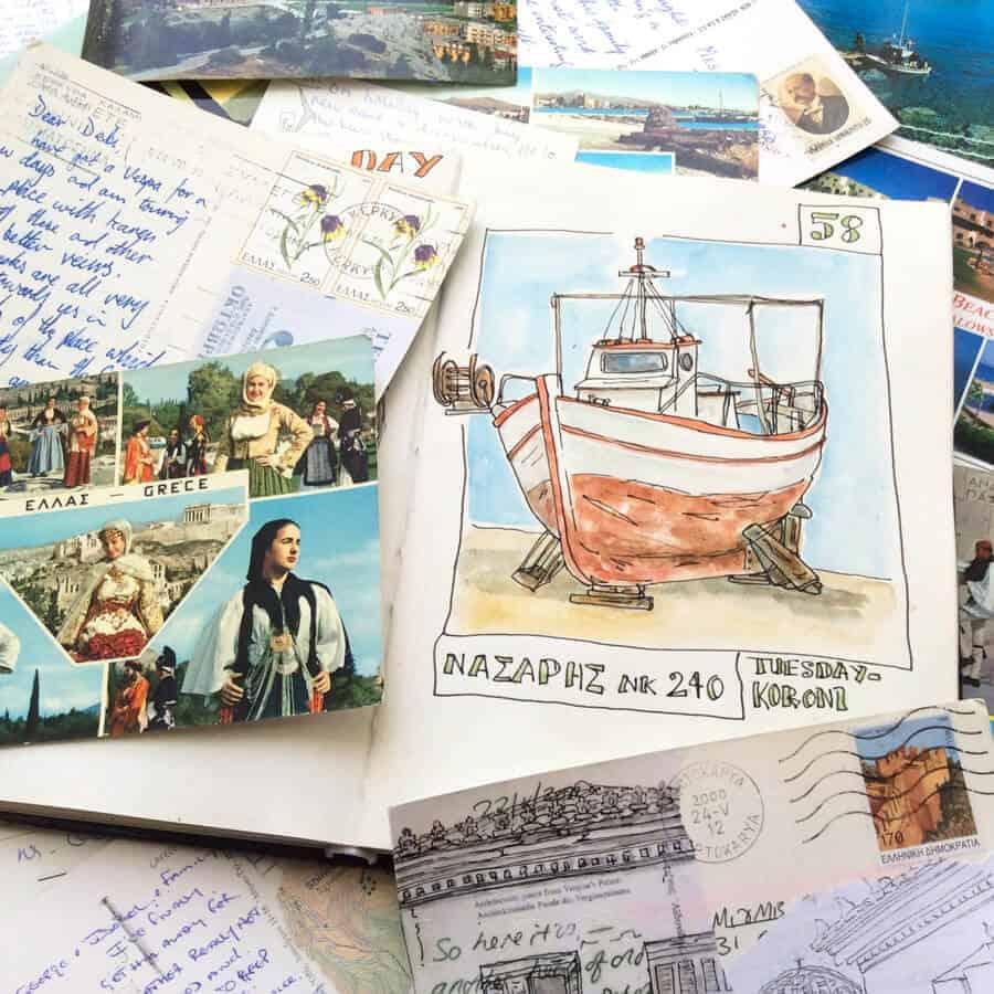 greek postcards and sketchbook drawings work in progress for paintings