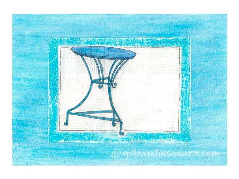 blue greek cafe table painting by gill tomlinson