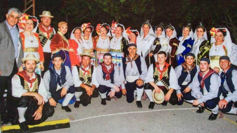 greek dance group in traditional costumes Koroni, Messinias