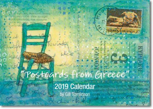 postcards from greece, 2019 art calendar, greek art, gill tomlinson art