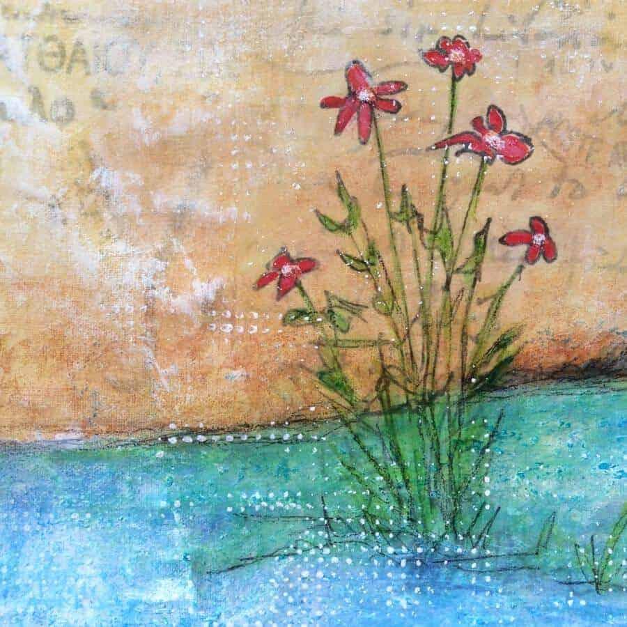 flower detail of forgotten corner painting by gill tomlinson art