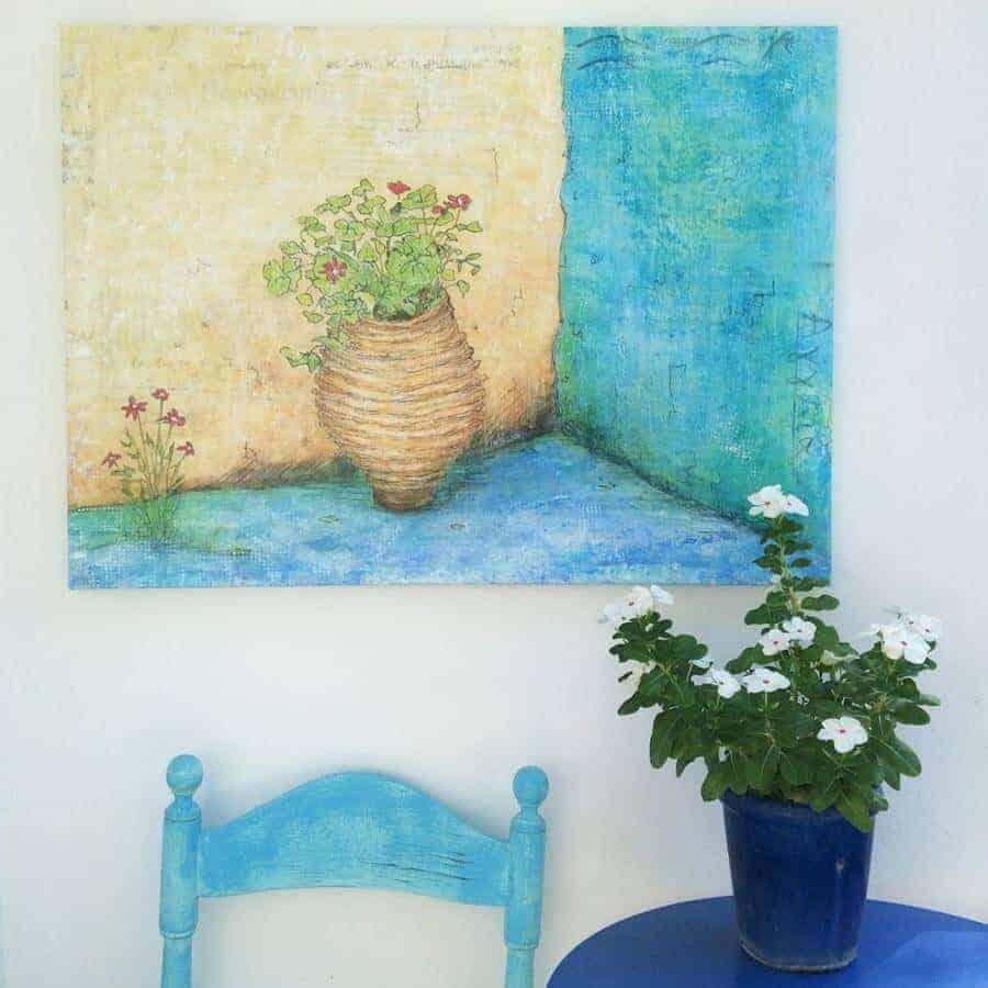 forgotten corner, painting of Greek street scene by gill tomlinson art