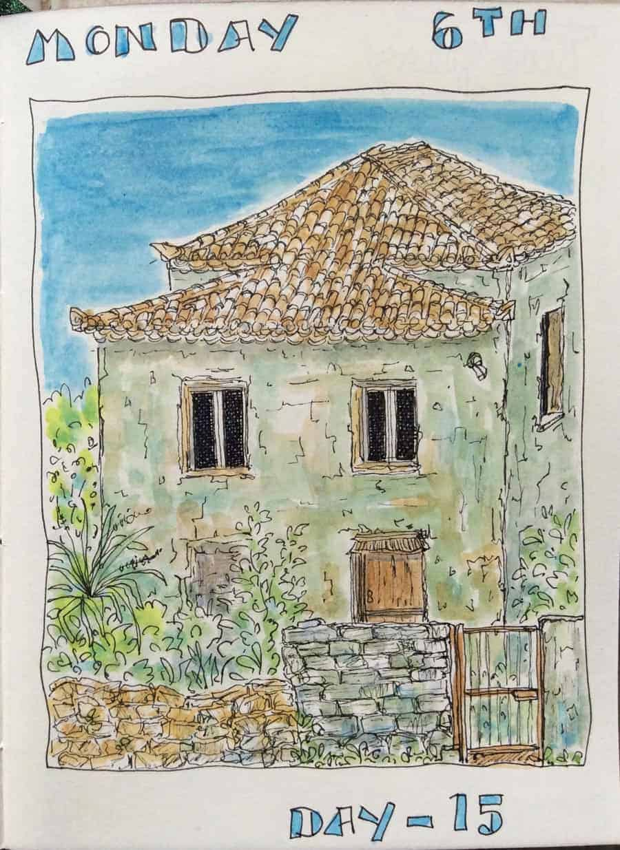 drawing of greek village house