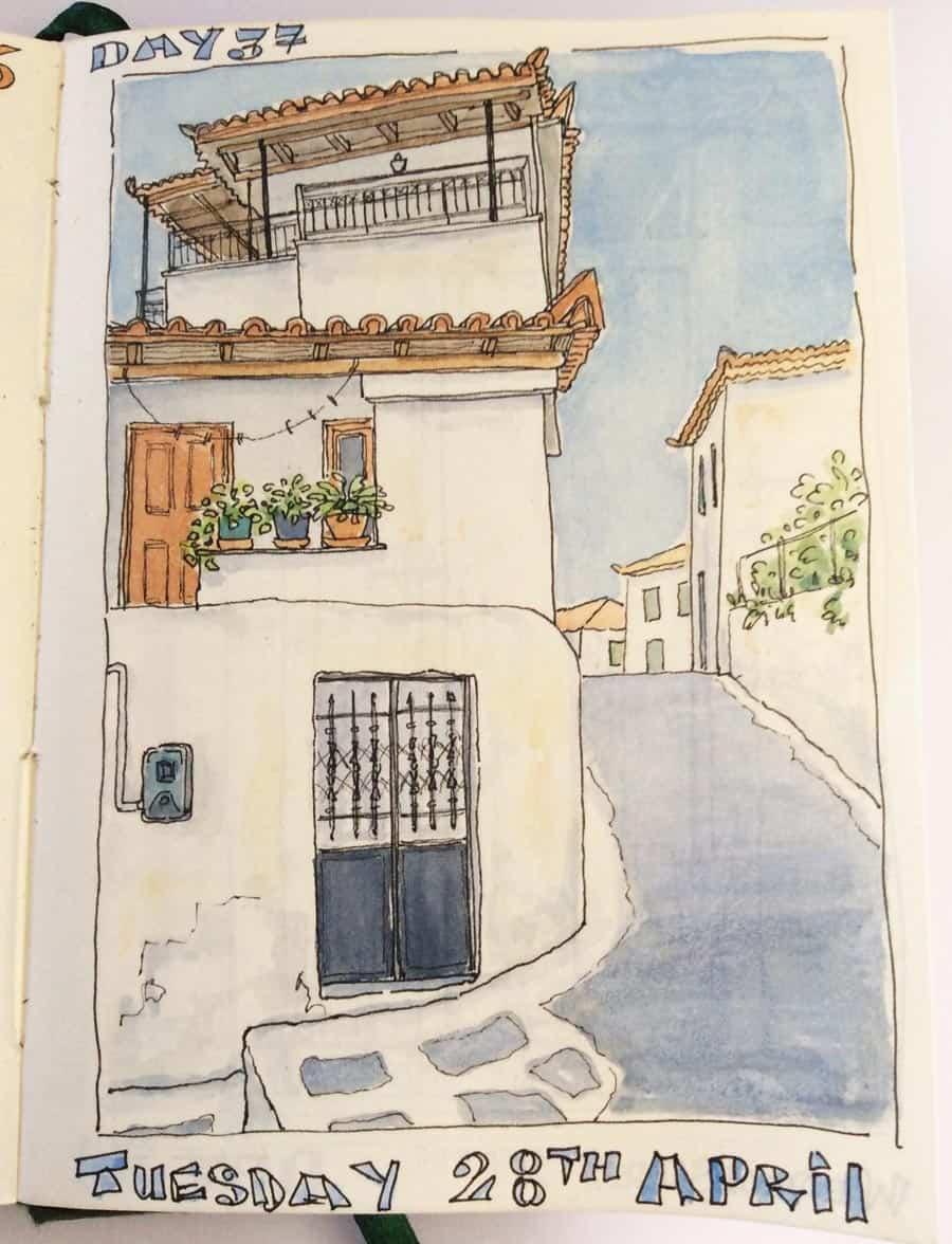 drawing of Greek village house