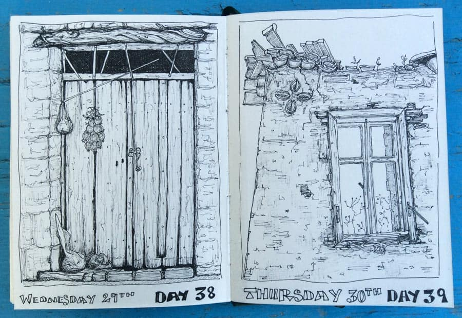 pen and ink drawings done in Greece