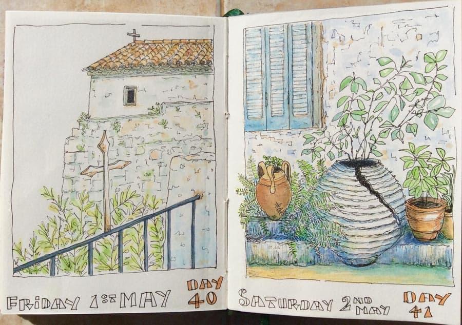 watercolour drawings from a Greek sketchbook