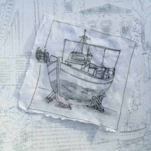 sketches greece fishing boats villages
