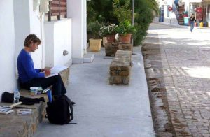 greek village sketching artist gilltomlinsonart