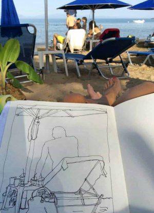 sketching beach perulia greece